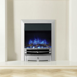 Logic2-Electric-Chartwell-with-Polished-effect-front-Polished-Steel-effect-frame-and-Log-effect-fuel-bed-on-blue-flame-setting-MI