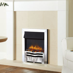Logic2-Electric-Wave-with-Polished-Steel-effec-frame-and-front-with-log-fuel-effect.-Shown-with-Brompton-Wooden-Mantel-from-Stovax-mi